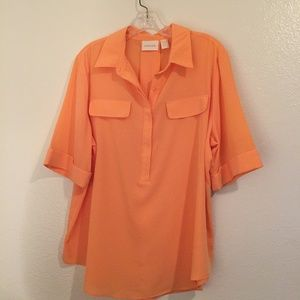 Chicos tangerine flowy blouse with hidden buttons